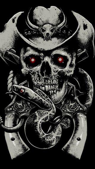 Обои на телефон страх, оружие, змея, череп