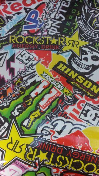 Обои на телефон наклейки, красые, бык, stickerbomb, rockstar, red bull, obey, monster, dc