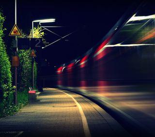 Обои на телефон поезда, ночь, motion, in motion