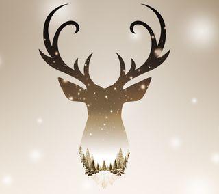 Обои на телефон олень, стиль, снег, рождество, christmas deer style