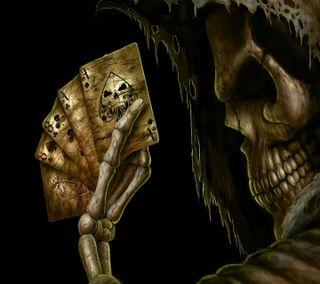 Обои на телефон числа, карты, череп, скелет, новый, крутые, кости, playingcard, aces, 3д, 3d skull cards, 3d
