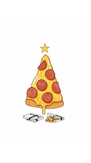 Обои на телефон пицца, рождество