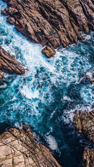 Обои на телефон формы, синие, море