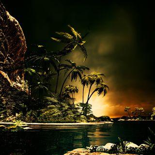 Обои на телефон рай, тропические, темные, остров, океан, море, закат, dark paradise