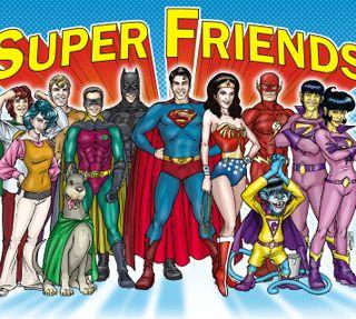 Обои на телефон чудо, флэш, супермен, женщина, бэтмен, superfriends
