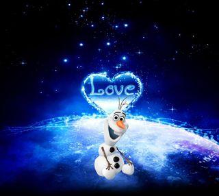 Обои на телефон холодное, сердце, олаф, небо, милые, любовь, звезды, дисней, валентинка, love, disney