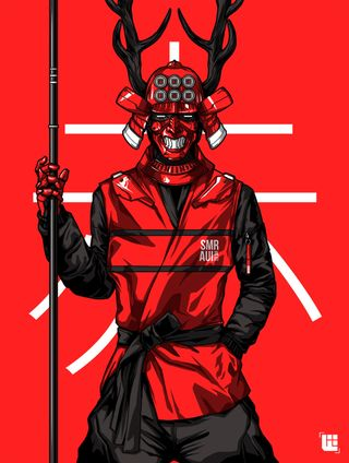 Обои на телефон самурай, черные, фон, красые, staff, masked, man, horns