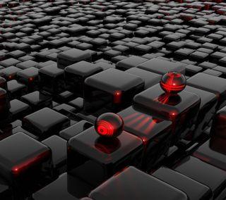 Обои на телефон черные, пол, мяч, графика, floor ball, black 3d floor ball, 3д, 3d