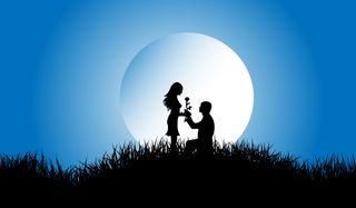 Обои на телефон луна, природа, пары, ночь, любовь, propose, love