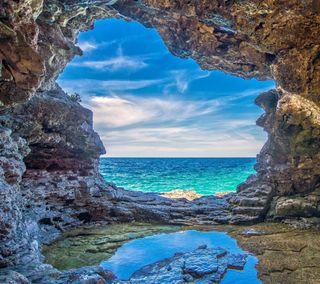 Обои на телефон природа, пещера, пейзаж, море, sea cave