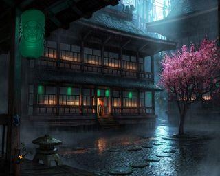Обои на телефон сакура, японские, фигура, рисунок, прекрасные, капли, дождь