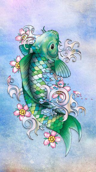 Обои на телефон рыба, японские, карп, изумруд, драгоценность, koifish, koi, emerald koi fish