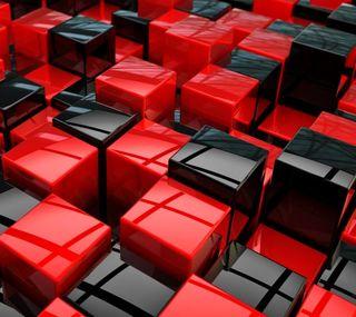 Обои на телефон кубы, черные, красые, квадраты, абстрактные, 3д, 3d cubes, 3d