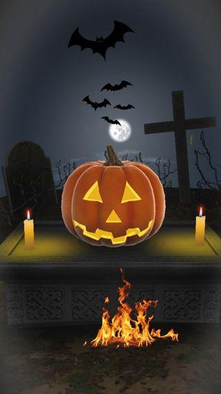 Обои на телефон летучая мышь, хэллоуин, тыква, страшные, свеча, огонь, ночь, луна, крест, cemetery