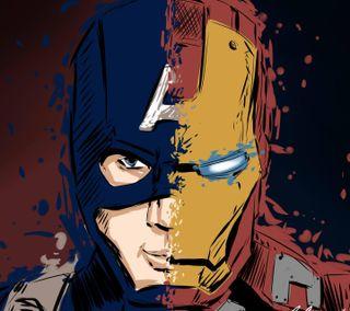 Обои на телефон марвел, капитан, железный, америка, marvel, capitan america iron man
