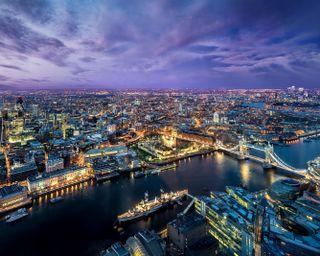 Обои на телефон небо, пейзаж, город, огни, лондон, здания