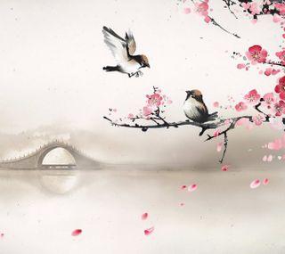 Обои на телефон птицы, китай, восточные, белые, xl, petal, japanees, gtree