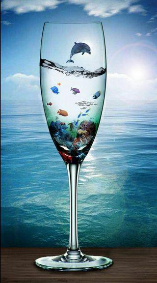 Обои на телефон чашка, рыба, небо, море, вода, cup
