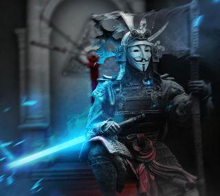 Обои на телефон самурай, японские, световой меч, свет, воин, анонимус