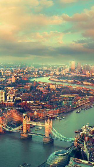 Обои на телефон вид, мост, лондон