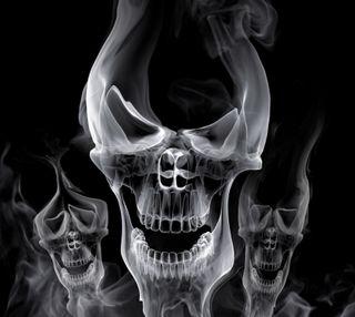 Обои на телефон череп, дым