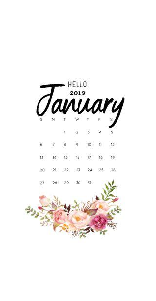 Обои на телефон календарь, цветы, новый, год, january 19 calendar, january, 2019