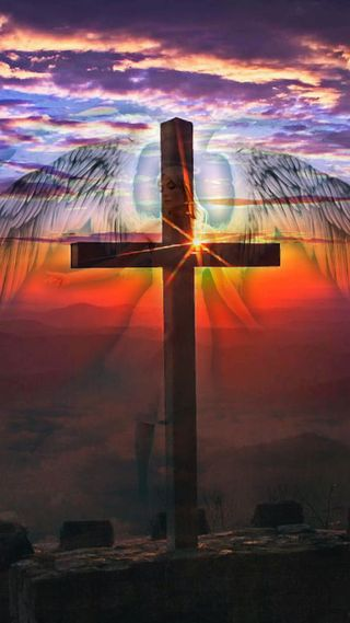 Обои на телефон вера, крест, исус, бог, ангел, angelic cross