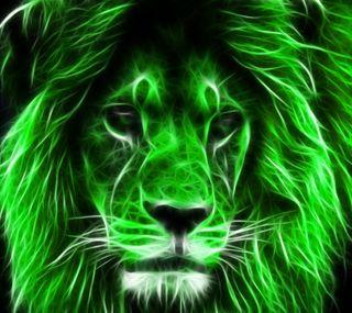 Обои на телефон фрактал, лев, коты, зеленые, животные, абстрактные, lion fractal green