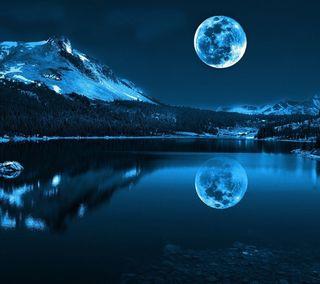 Обои на телефон 2880x2560, lg g3, night moon, синие, темные, ночь, луна, фантазия
