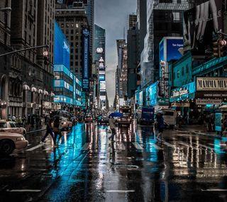 Обои на телефон синие, свет, новый, город