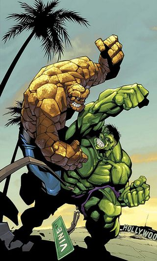 Обои на телефон фантастические, халк, марвел, комиксы, книга, бой, fantastic four, comic book, battle of brutes