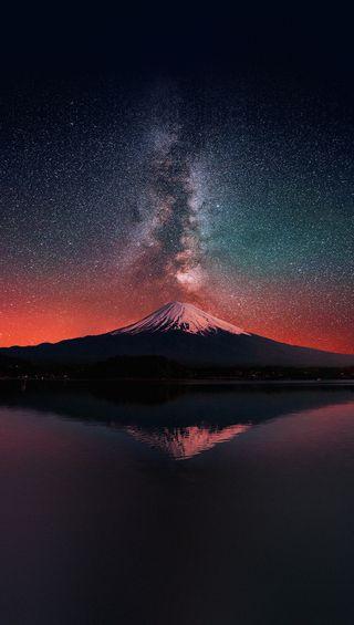 Обои на телефон путь, отражение, небо, млечный, космос, звезды, горы, вода, milky mountain