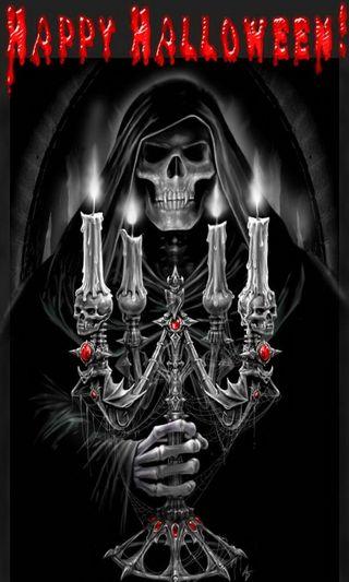 Обои на телефон жнец, череп, хэллоуин, темные, свеча, голова, skull head reaper, halloween candle dark