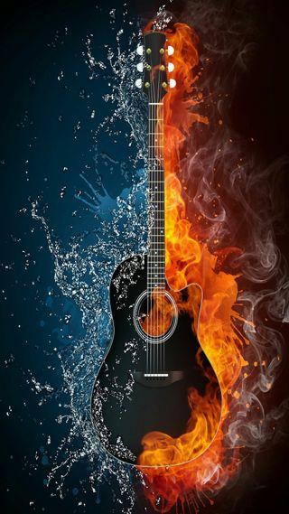Обои на телефон гитара, огонь, музыка