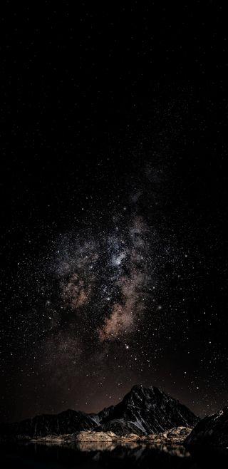 Обои на телефон звезды, ночь, небо, звезда, горы, галактика, амолед, plus, hd, galaxy, amoled