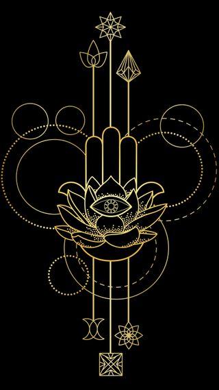 Обои на телефон лотус, черные, цветы, рука, золотые, дизайн, арт, абстрактные, hand of fatima, fatima, art