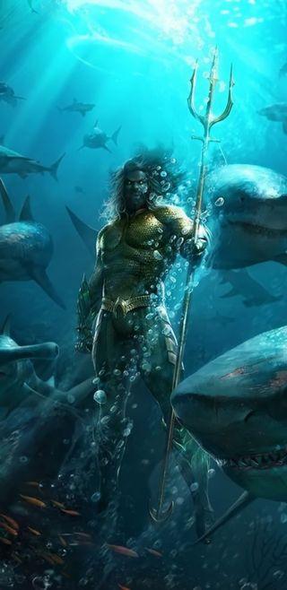 Обои на телефон справедливость, рыба, море, комиксы, герой, акула, аквамен, note 8, justice leaque, dc