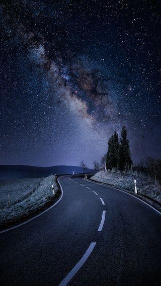 Обои на телефон вечер, ночь, звезда, дорога, night roadp