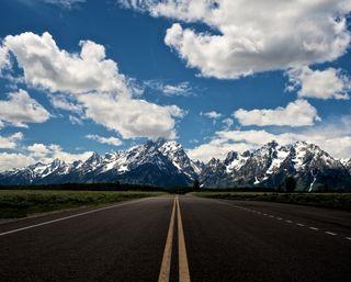 Обои на телефон тишина, снег, облака, дорога, горы, mountain road