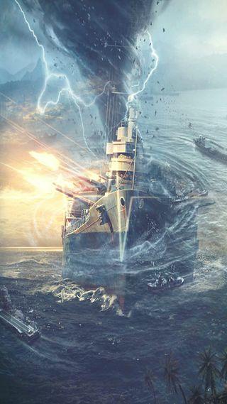 Обои на телефон торнадо, корабли, оружие, океан, молния, лодка, вода, warship