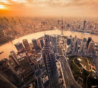Обои на телефон современные, здания, город, shanghai