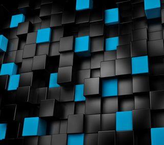 Обои на телефон 3д, черные, синие, изгиб, абстрактные