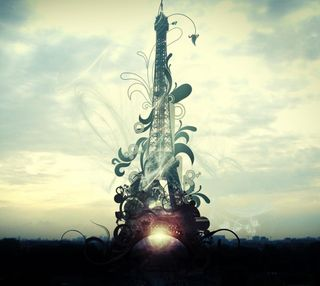 Обои на телефон эйфелева башня, париж, закат, башня, абстрактные