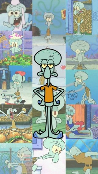 Обои на телефон коллаж, развлечения, мультфильмы, дети, губка боб, squidward, spongebob squarepants, nickoledon, nick