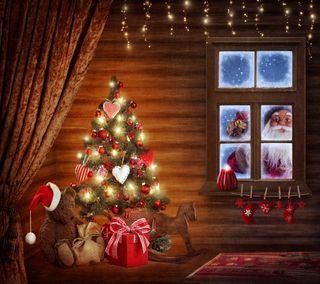 Обои на телефон украшение, счастливое, санта, рождество, ночь, дом, время