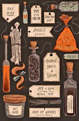 Обои на телефон ужасные, хэллоуин, классные, жуткие, ведьма, spooky ingredients, spells