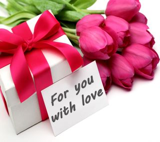 Обои на телефон тюльпаны, подарок, любовь, love