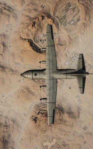 Обои на телефон самолет, пустыня, пабг, дом, двигатель, topview, pubg - miramar, pubg, miramar