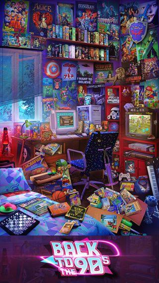 Обои на телефон комната, геймер, 1990