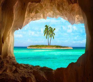 Обои на телефон рай, цветные, тропические, природа, пальмы, остров, океан, новый, море, крутые, естественные, дерево, hd paradise island